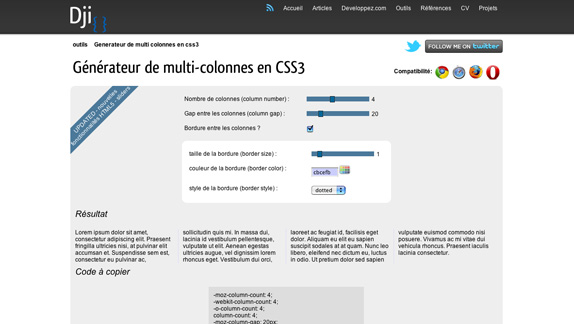 Generateur de multi-colonnes en CSS3